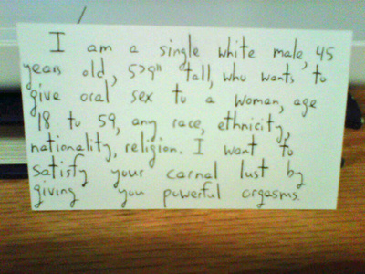 [SNAPSHOT] Man Offers Free Sex Via Handwritten Magazine Inserts
